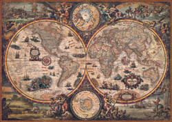A stunning hemispheric world map from Heye presented in an antique style accompanied with classic fine art illustrations and featuring current geographical and political boundaries.