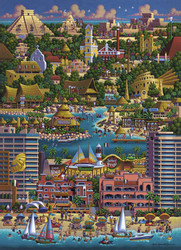 This colorful illustration of Cancun, Mexico by artist Eric Dowdle is both engaging and educational, providing a marvelous building experience with a well-made, wood puzzle.