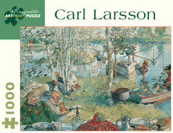 A delightful painting by Swedish artist Carl Larsson reflecting a light-hearted family gathering at their rural country home. It makes for a wonderful puzzling experience.