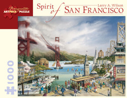 An immensely entertaining view of San Francisco from Pomegranate Puzzles featuring 23 popular sites of the city and surrounding areas, arranged in a highly creative and engaging style.