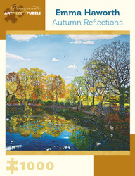 A very nice water scene in Autumn by artist Emma Haworth, featuring colorful leaves on trees and reflected by the water, wonderful blues in water and sky, and a mix of people and wildlife enjoying this picturesque location.
