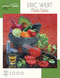 A delightful jigsaw puzzle from Pomegranate featuring a visually appetizing arrangement of colorful fruits and vegetables nicely arranged in a stone molcajete against a vibrant red background.