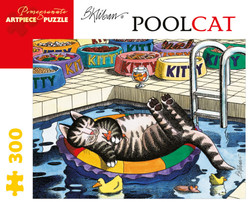 A pampered pool cat surrounded by every type of tasty treat imaginable makes for a fun puzzling experience for just about any age group.