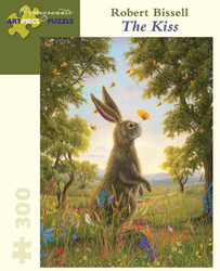 A soothing painting by artist Robert Bissell of an inquisitive rabbit exploring its surroundings and the fellow creatures that inhabit it; a delightful picture for puzzling.