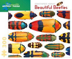 An intriguing display of colorful beetles by artist Christopher Marley makes for a delightful puzzling experience, full of interest and wonderfully entertaining.