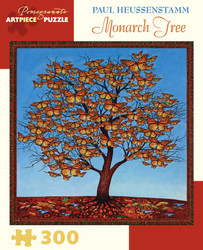 "An imaginative, colorful and quite interesting jigsaw puzzle from Pomegranate featuring a lone tree with supporting a delightful canopy of Monarch butterfly ""leaves""."