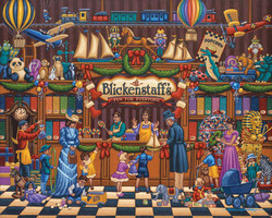 A nostalgic rendering of a 19th century toy store featuring a group of children playfully occupied in a scene overflowing with happiness and delight.