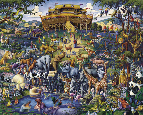 A very nice picture of Noah's Ark from the early chapters of Genesis by artist Eric Dowdle featuring many animals pleasantly interacting before a dramatic and interesting representation of the ark itself.