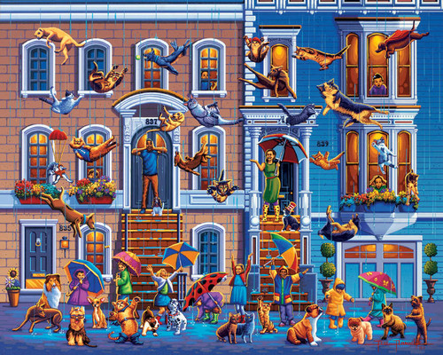 A fun puzzle by folk artist Eric Dowdle where we see it raining cats and dogs, much to the delight of the children and the bewilderment of the cats and dogs.