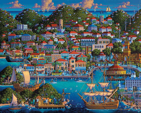 A wonderful view of St. Thomas, Virgin Islands by artist Eric Dowdle featuring a colorful view of this island resort along with many popular attractions and sites of interest.