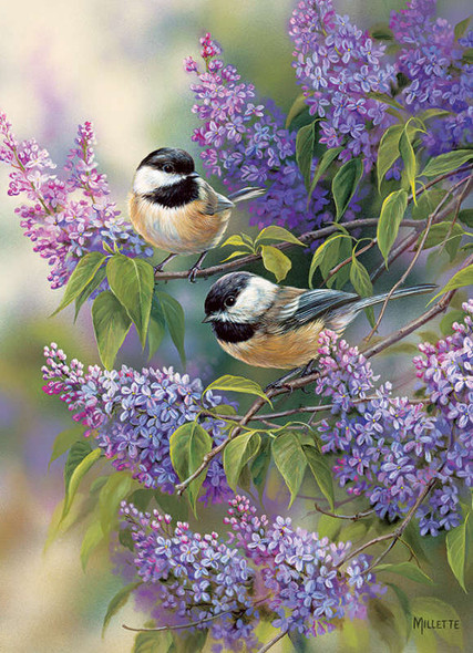 A nicely designed puzzle by Cobble Hill featuring two chickadees perched momentarily on the small twigs of a lilac bush.