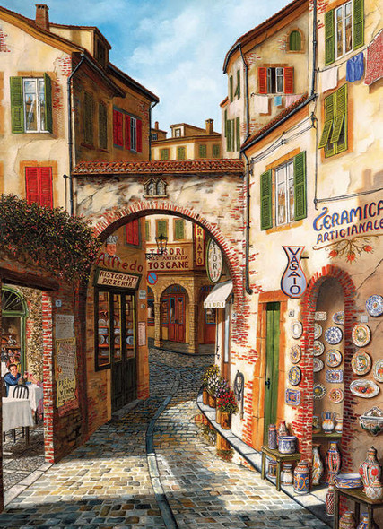 A realistic portrait of an Italian town by Cobble Hill featuring a narrow walkway flanked on both sides by small shops and restaurants.