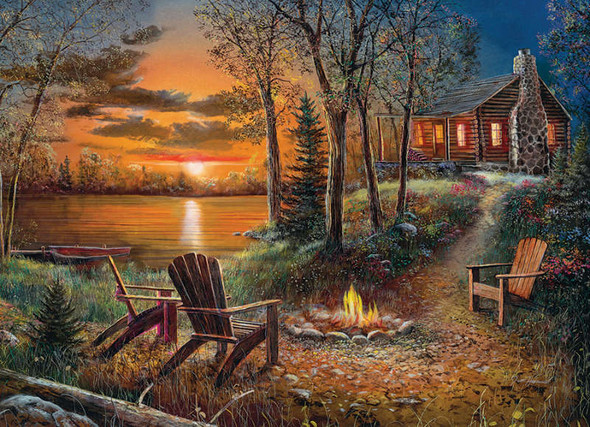 This Cobble Hill puzzle features an inviting picture of a rustic cabin by waters edge. A cozy campfire and comfortable chairs help create an especially welcoming scene.