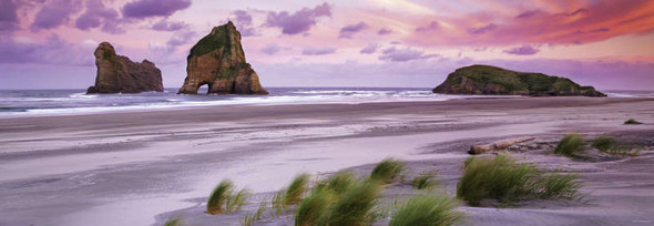 A remarkable photograph of Wharariki Beach and the Archway Islands located in New Zealand provides a wonderful puzzling experience, though it is not recommended for beginners.