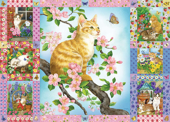 Blossoms and Kittens Quilt, 1000pc