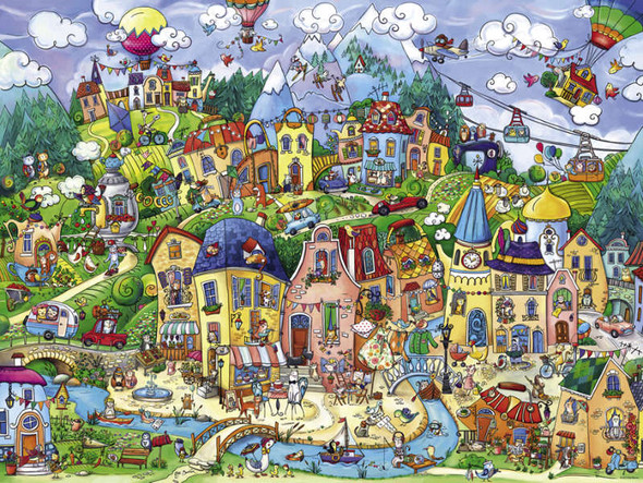 """""""Happytown"""" is the ideal place to call home if you're a tamed domestic animal. This puzzle by Heye is both fun and interesting. It is ideal for either individual or family puzzling."""