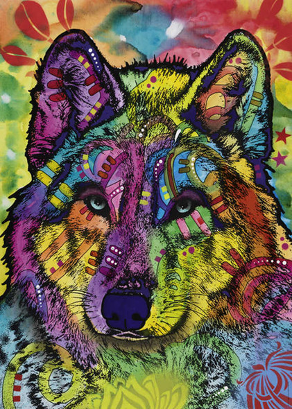 """""""Wolf's Soul"""" is an especially fun and interesting puzzle from Heye featuring a bold design full of vibrant color and creative shapes and patterns."""