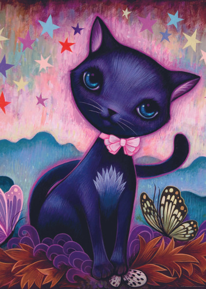 """""""Black Kitty"""" is a delightful puzzle from Heye featuring the work of artist Jeremiah Ketner. It has a fairytale-like aspect to it that is both distinctive and visually appealing, making for a very enjoyable puzzling experience."""