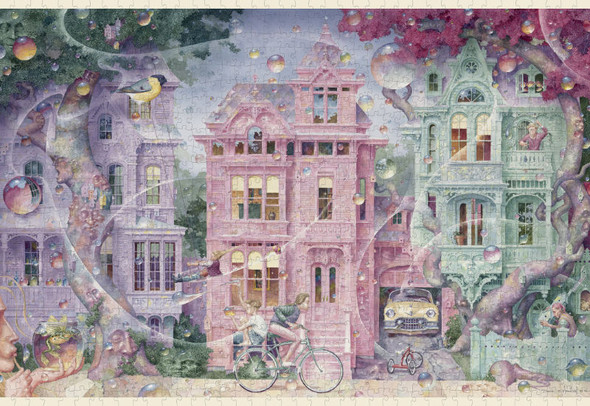 A wonderful jigsaw puzzle with dreamlike qualities offering delightful blends of color, very well thought-out design, and loads of interesting detail. A marvelous puzzle all around.