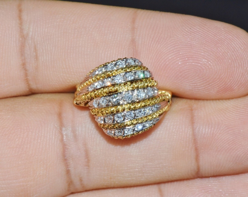 Vintage Natural .60Cts VS G Diamond 18K Solid Gold 2 Tone Dome Cocktail Ring