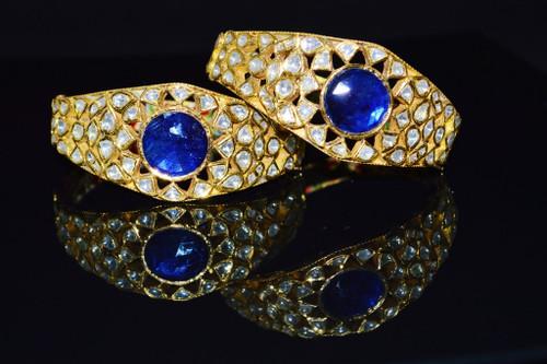 Estate 22K 18K Solid Gold Natural Diamond Sapphire Bangles Bracelets Pair