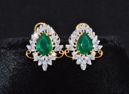 22K Solid Gold Green Gems Cubic Zircon Stud Floral Earrings
