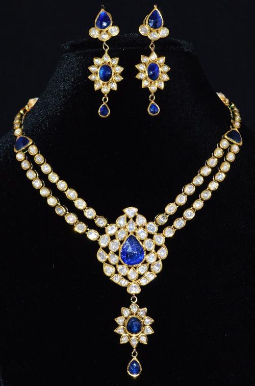 Estate 22K 18K Solid Gold Diamond Sapphire Necklace Chandelier Earrings Set