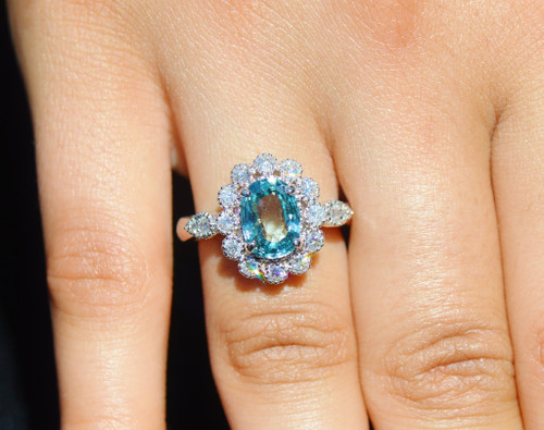 Certified Natural 3.81CTS VS F Diamond Blue Zircon 18K Solid Gold Ring