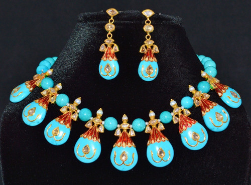 Estate 22K 18K Solid Gold Diamond Carved Turquoise Pearl Necklace Earrings Set