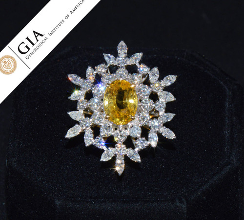GIA Certified Natural 6.1CTS VS F Diamond 18K Solid Gold Yellow Ceylon Sapphire Ring