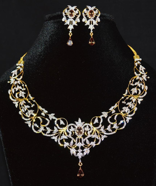 Certified Natural 14.72CTS VS G Diamond Color Change Garnet 18K Solid Gold Necklace Earrings Set