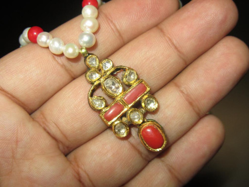 Estate 22K Solid Gold Rose Cut Diamond Coral Pearl Reversible Pendant Necklace