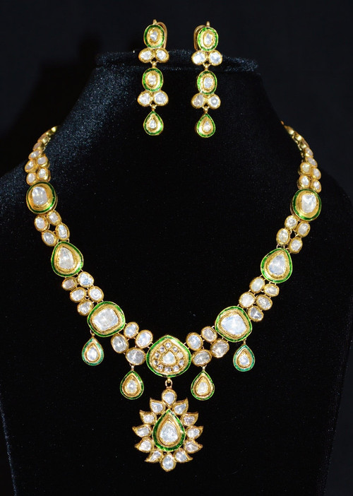 Estate 22K 18K Solid Gold 30.5CTS Diamond Enamel Necklace Earrings Set