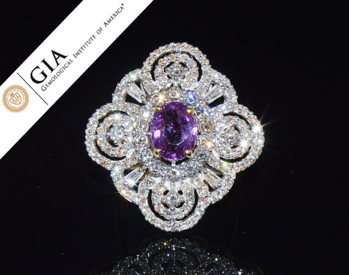 GIA Certified Natural 5.3CTS VS F Diamond Purplish Pink Sapphire 18K Solid Gold Ring