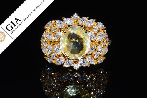 GIA Certified 8.35CTS VS F Diamond Ceylon Sapphire 18K Solid Gold Bombay Dome Ring