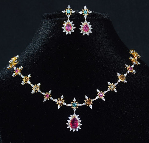 Certified Natural 18.6CTS VS F Diamond Tourmaline 18K Solid Gold Necklace Earrings Set