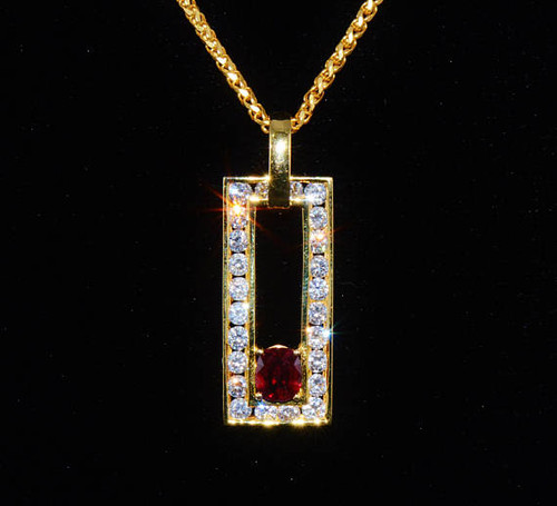 Certified Natural 2.48CTS VS G Diamond Garnet 18K Solid Gold Pendant Necklace