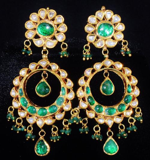 ESTATE 22K 18K GOLD EMERALD DIAMOND DANGLE CHANDELIER EARRINGS