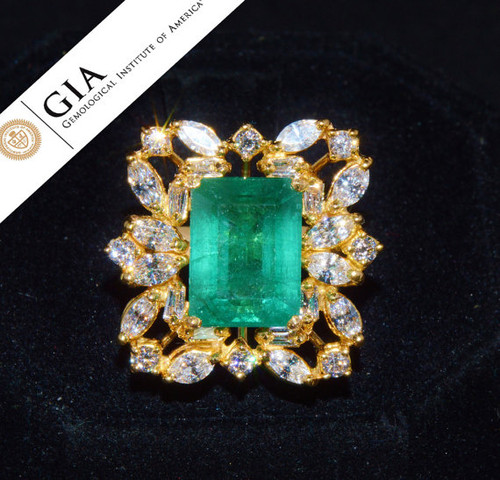 GIA Certified Natural 9CTS VS F Diamond Emerald 18K Solid Gold Dinner Ring