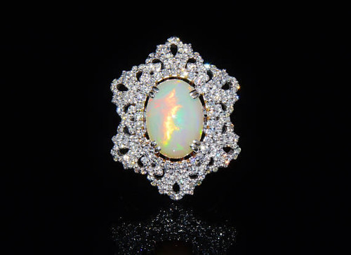 Certified Natural 7.6CTS VS F Diamond Opal 18K Solid Gold Cocktail Dome Ring