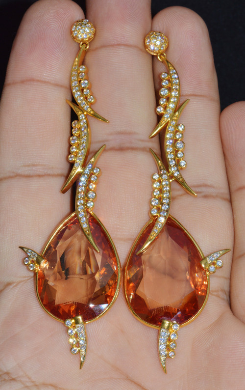 Gorgeous 22K Solid Gold 60CTS Topaz CZ Dangle Chandelier Earrings