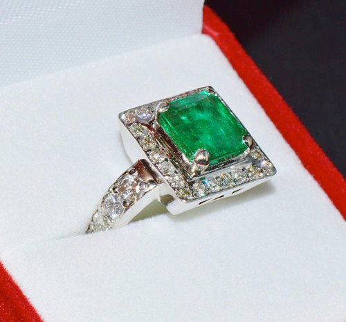 Certified Natural 4.7CTS VS G Diamond Emerald 950 Solid Platinum Ring