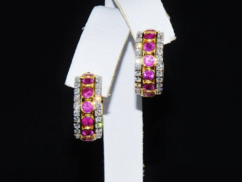 Certified Natural 7.4Cts VS F Diamond Ruby 750 18K Solid Gold Hoop Earrings