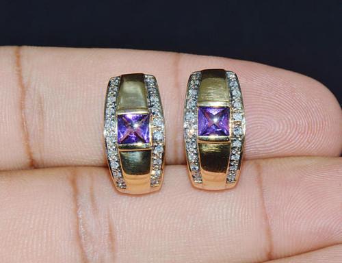 Estate .75CTS VS G Diamond Amethyst 18K Solid Gold Hoop Omega Earrings