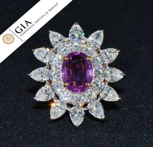 GIA Certified Natural  7.8CTS VS F Diamond Vivid Pink Sapphire 18K Solid Gold Cocktail Ring