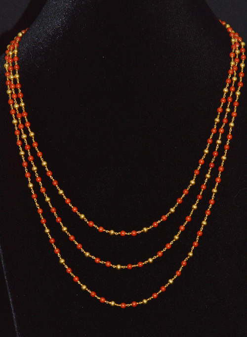 Estate 18K Solid Gold Mediterranean Coral Long Chain Necklace
