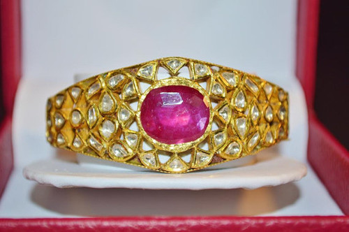 Estate 22K 18K Solid Gold Natural Diamond Ruby Bangle Bracelet