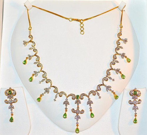 Certified Natural 11CTS Natural VS G Diamond Tsavorite Green Garnet 18K Solid Gold Necklace Earrings Set