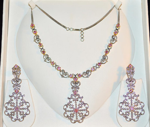 Certified Natural 12.84CTS VS G Diamond Pink Sapphire 18K Solid Gold Necklace Earrings Set