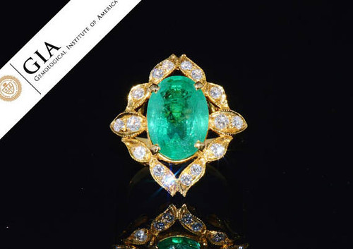 GIA Certified Natural 6.9CTS VS E Diamond Emerald 18K Solid Gold Ring